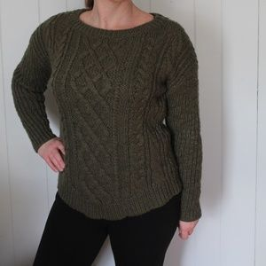 Banana Republic Green Cable Knit Sweater Wool Med